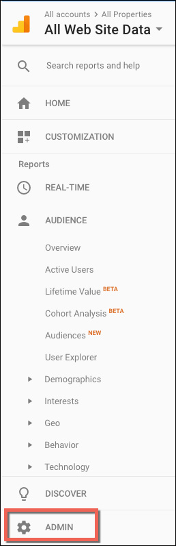Go the Admin Section of Google Analytics