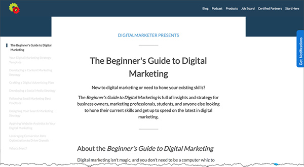 Screenshot of The Beginner's Guide to Digital Marketing home page