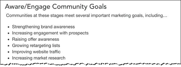Aware/Engage community goals