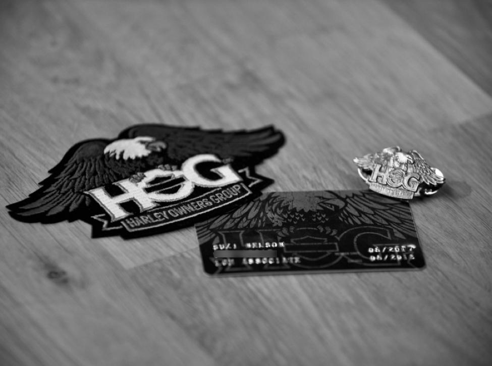 HOG membership card, commemorative badge, and pin