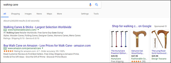 "Searching for ""walking cane"" in Google"
