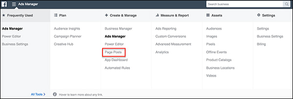 Page Posts in Ads Manager