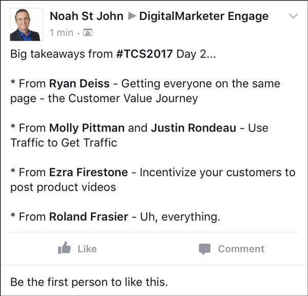 Traffic & Conversion Summit 2017 attendee posting about the event