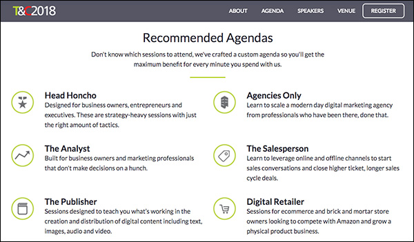 Recommended Agenda for Traffic & Conversion Summit 2018