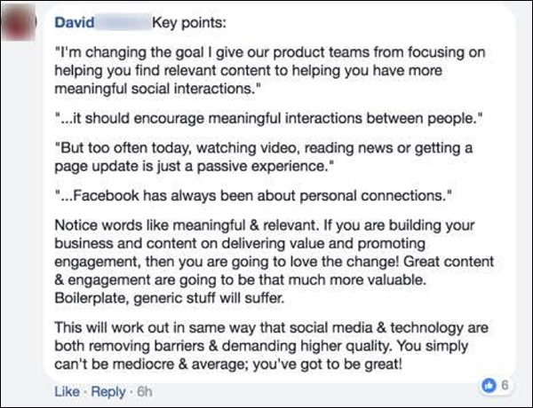 DM Engage member on the new Facebook News Feed changes