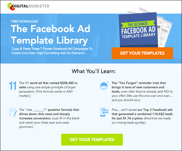 Facebook Ad Template Library landing page