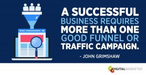 A successful business requires more than one good funnel or traffic campaign. ~John Grimshaw