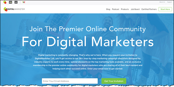 The DigitalMarketer homepage