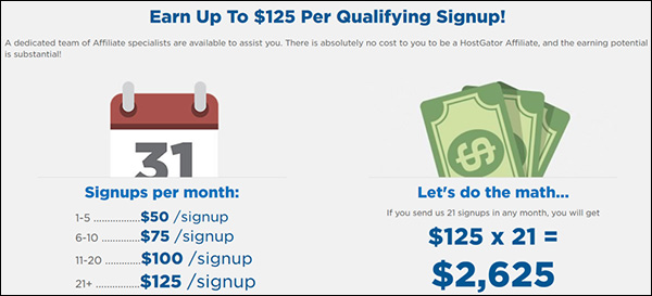 Affiliate payment structure from HostGator