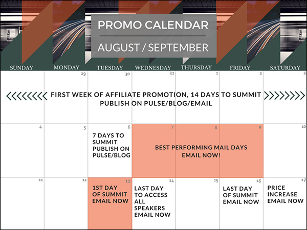 EntrepreneursHQ affiliate info page with promo calendar for August/September