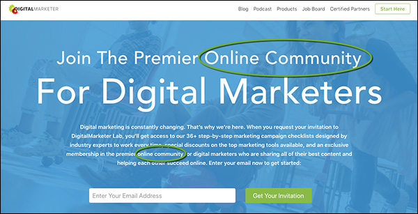 "DigitalMarketer homepage that focuses on ""community"" within the copy"