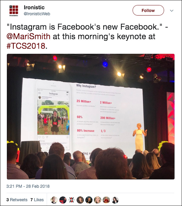 """Instagram is Facebook's new Facebook."" ~Mari Smith from her Day 3 opening keynote at Traffic & Conversion Summit 2018"