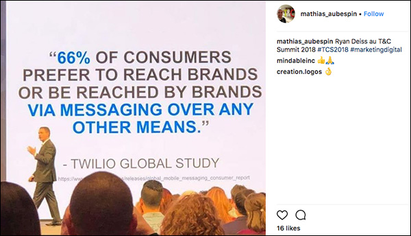 66% of consumers prefer to reach brands or be reached by brands via messaging. Instagram post from Traffic & Conversion Summit 2018 attendee