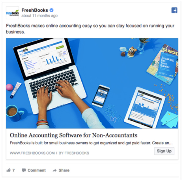 FreshBooks Facebook ad
