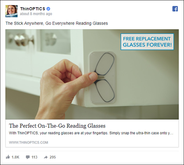 ThinOPTICS Facebook ad