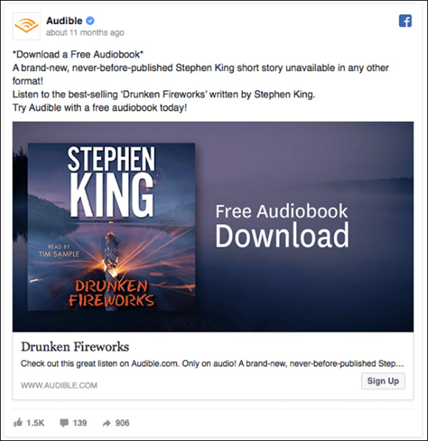 Audible Facebook ad