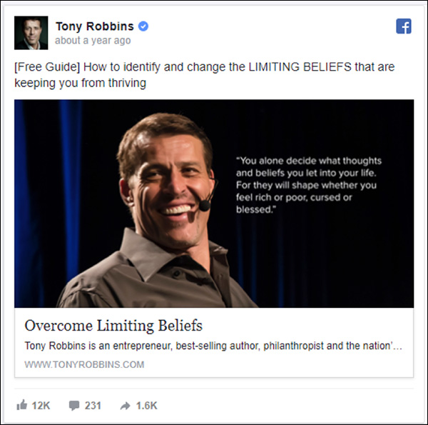 Tony Robbins Facebook ad