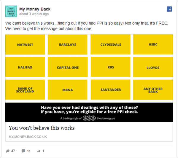 My Money Back Facebook ad