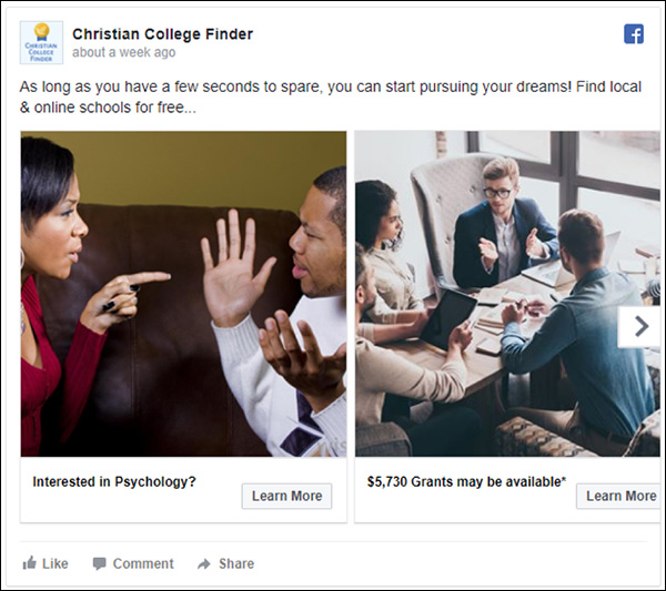 Christian College Finder Facebook ad