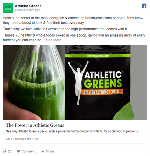 Athletic Greens Facebook ad