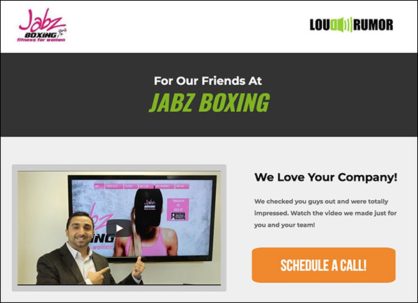 A custom landing page for Jabz Boxing by Loud Rumor