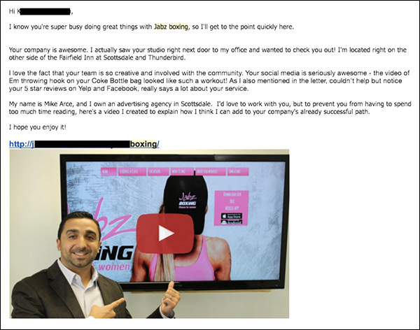 Email template Loud Rumor uses to reach out to prospects and alert them about the sales video