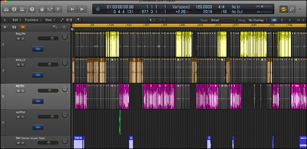 What editing an episode of the Perpetual Traffic podcast looks like in Logic Pro