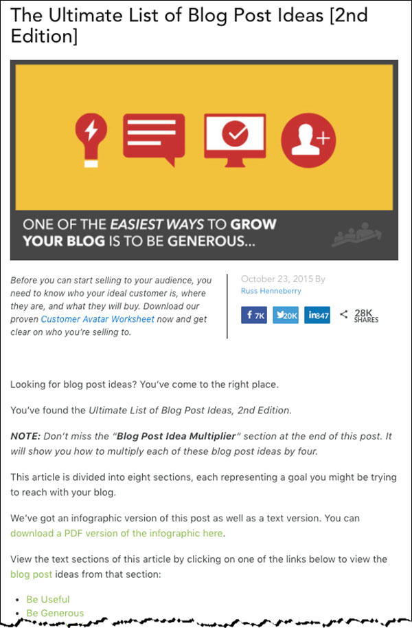 """""""The Ultimate List of Blog Posts Ideas"""" blog post by DigitalMarketer"""