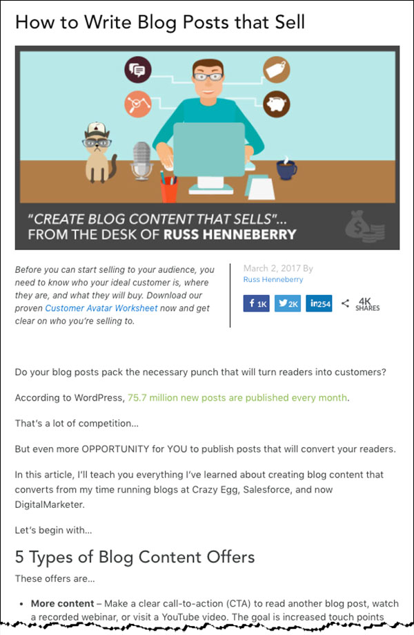 """""""How to Write Blogs that Sell"""" blog post by DigitalMarketer"""