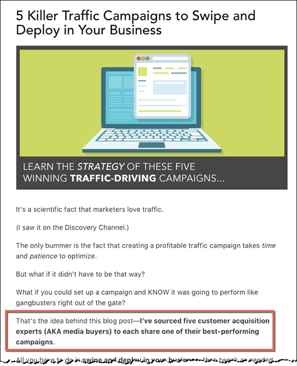 """""""5 Killer Traffic Campaigns to Swipe and Deploy in Your Business"""" blog post by DigitalMarketer"""