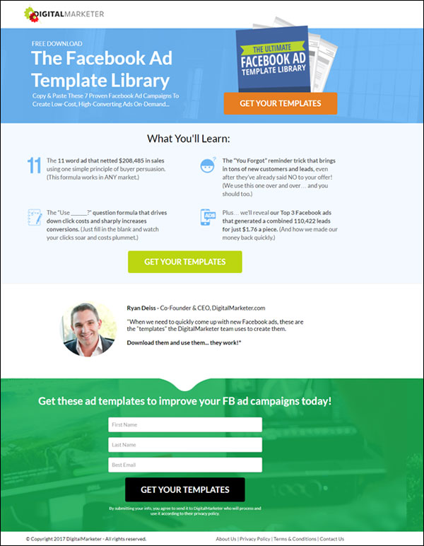 """DigitalMarketer squeeze page for a Lead Magnet called """"The Facebook Ad Template Library"""""""
