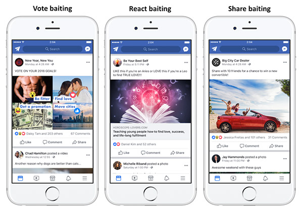 Examples of engagement baiting in Facebook