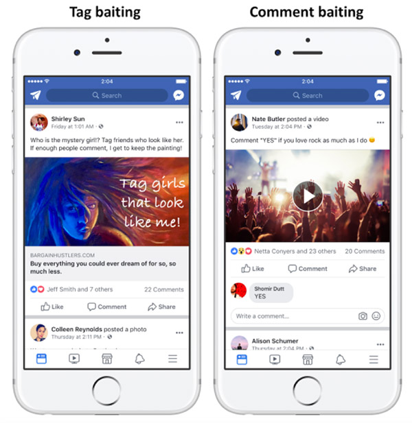 Examples of tag baiting and comment baiting in Facebook