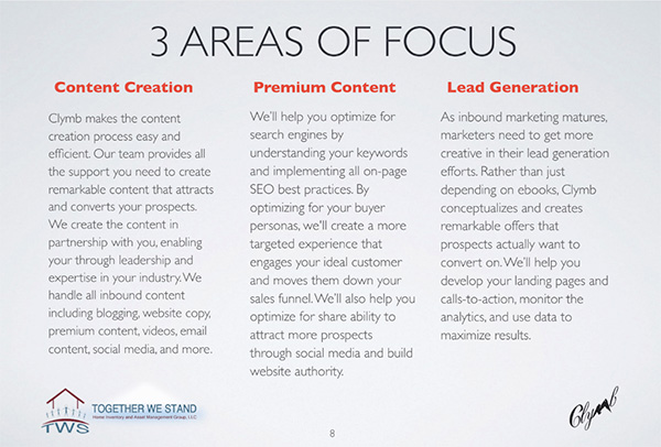 3 areas of focus for Clymb: content creation, premium content, and lead generation with their descriptions