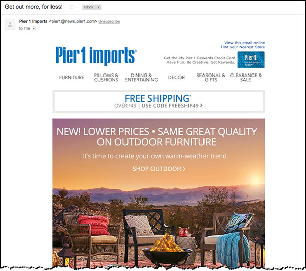 An example of a broadcast email announcing a Pier 1 promotion | Facebook Messenger Marketing