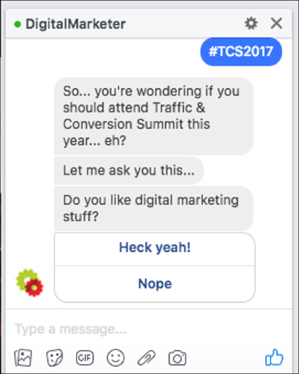 DigitalMarketer using Facebook Messenger to help people see if they'd be interested in attending Traffic & Conversion Summit
