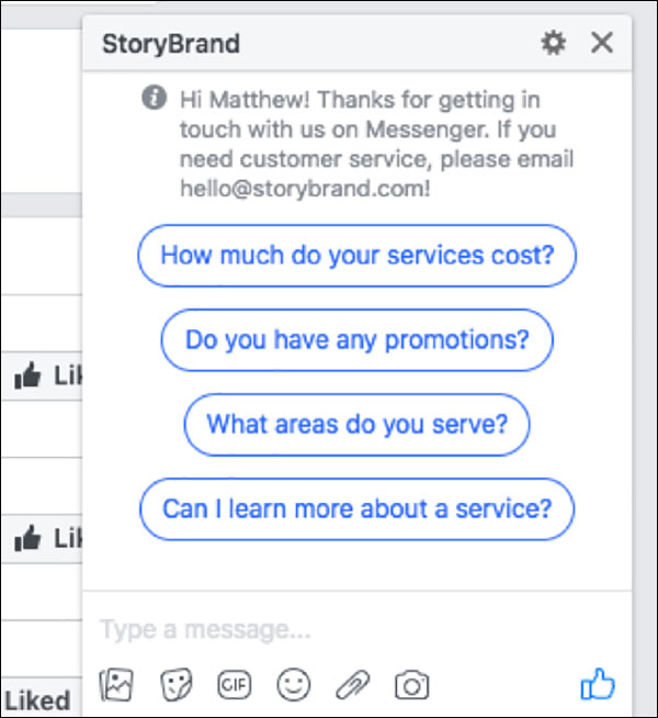 StoryBrand using Facebook Messenger to help answer customer service questions | Facebook Messenger Marketing