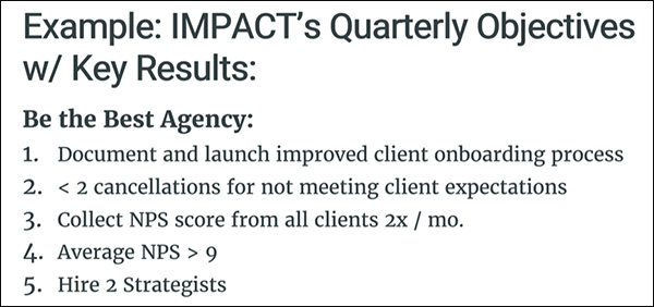 IMPACT's 5 quarterly objectives with key results