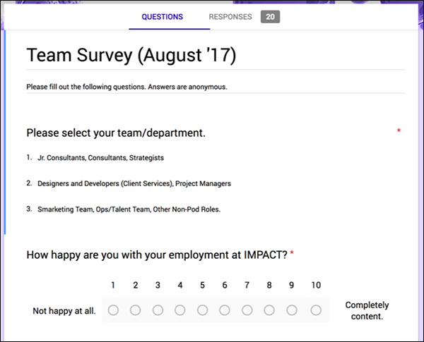 IMPACT's quarterly Team Survey
