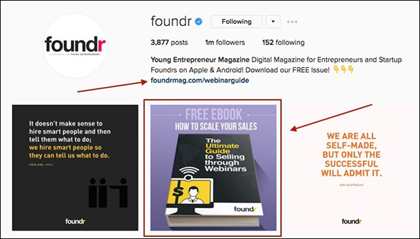 An example of a Lead Magnet fondr offered to their Instagram audience