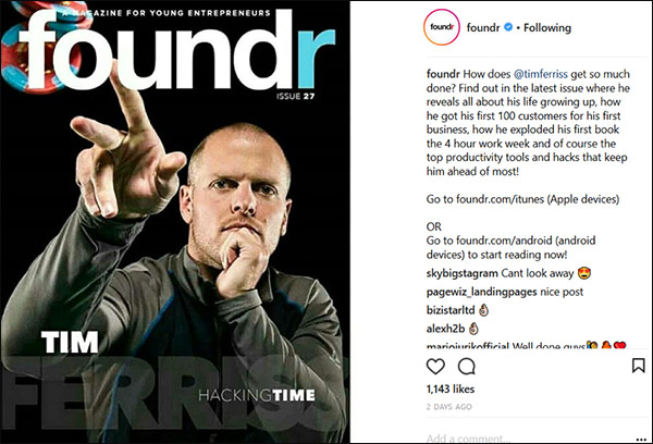 An Instagram post from fondr that highlights an issue that features Tim Ferriss