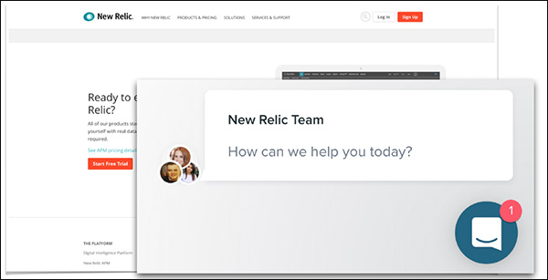 "A chat example in the right hand corner of the screen asking, ""How can we help you today?"""