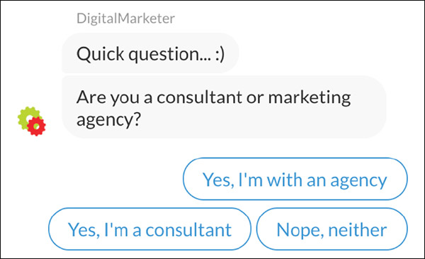 An example of a DigitalMarketer bot starting a conversation by asking if they're a consultant or a marketing agency.