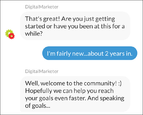 The DigitalMarketer bot moves on to Question #2—asking more about their business