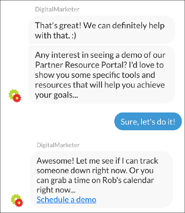 The DigitalMarketer chatbot asking if they'd like to schedule a time to talk more