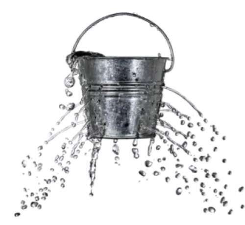A bucket leaking water from multiple holes