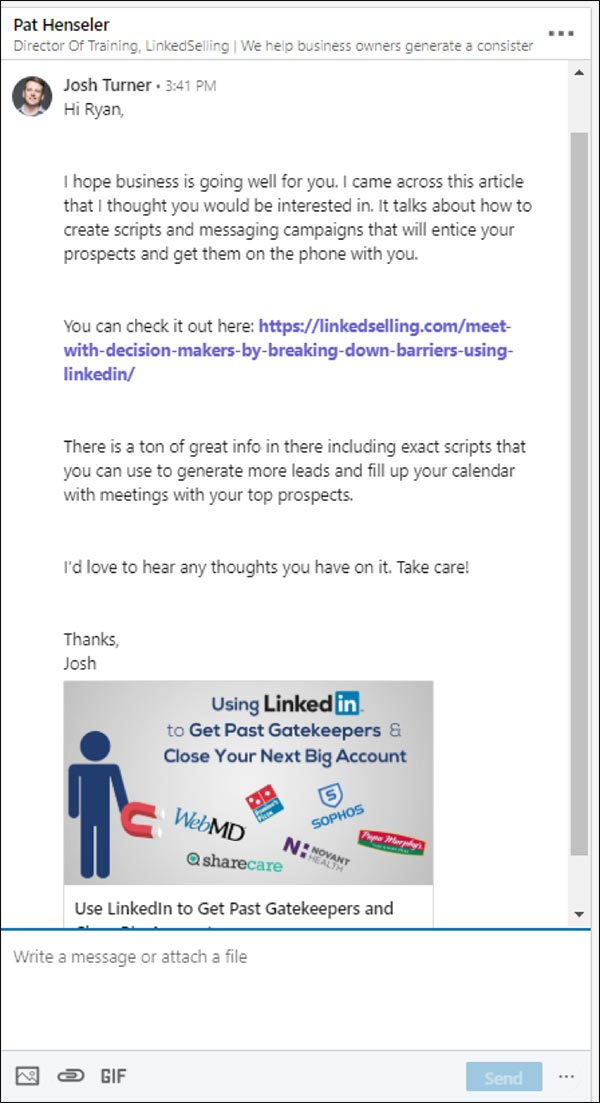 Second message in 5 message sequence LinkedIn marketing strategy: interesting article