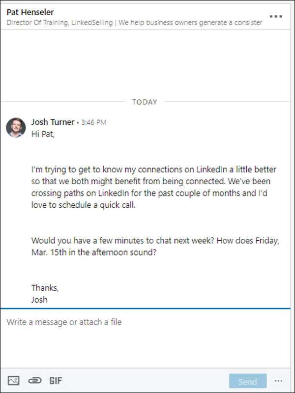 Fourth message from 5 message sequence LinkedIn marketing strategy: request phone call