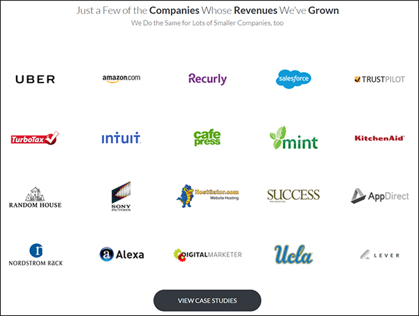 "spread of company logos with button at bottom that says ""view case studies"""