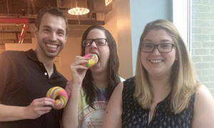 Rainbow bagels in the office, flown in from NYC by our Managing Editor, Lindsay Marder